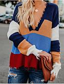 abordables Pulls & Gilets Femme-Femme Bloc de Couleur Manches Longues Ample Pullover, Col Arrondi Bleu clair / Vert / Kaki S / M / L