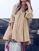 hesapli Maksi Elbiseler-Kadın's Temel A Şekilli Elbise - Geometrik, Desen Diz üstü