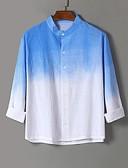 זול חולצות-קשירה וצביעה צווארון קלאסי בוהו מידות גדולות פשתן, חולצה - בגדי ריקוד גברים ירוק בהיר / שרוול ארוך