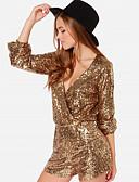 hesapli Kadın Tulumları-Kadın's Temel Siyah Altın Gümüş Tulum, Solid Payetler S M L