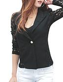 hesapli Blazerlar-Kadın's Blazer, Solid V Yaka / Çentik Yaka Polyester Beyaz / Siyah M / L / XL