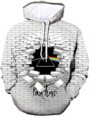cheap Men's Hoodies & Sweatshirts-Men's Casual / Active Hoodie - Color Block / 3D / Character White US38 / UK38 / EU46