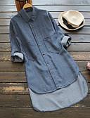 hesapli Gömlek-Kadın's Pamuklu Gömlek Yaka Salaş - Gömlek Kot Kumaşı, Solid Temel / Çin Stili Büyük Bedenler Havuz