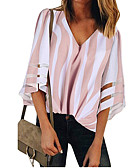 cheap Women's Blouses-Women's Daily Wear Street Street chic Cotton Shirt - Striped Patchwork V Neck Blushing Pink