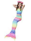 baratos Vestidos Longos-Infantil Para Meninas Estilo bonito Arco-Íris Roupa de Banho Arco-íris