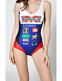 hesapli Bikiniler ve Mayolar-Kadın's Temel Havuz Boyundan Bağlamalı Yarım Tanga Tek Parçalılar Mayolar - Harf Arkasız Desen S M L Havuz