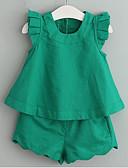 זול שמלות לבנות-סט של בגדים כותנה שרוולים קצרים דפוס אחיד בסיסי בנות ילדים