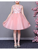זול שמלות לילדות פרחים-נסיכה באורך  הברך שמלה לנערת הפרחים  - פוליאסטר / טול ללא שרוולים עם תכשיטים עם אפליקציות / פרטים מפנינה על ידי LAN TING Express