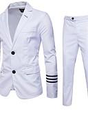 זול ז'קטים-לבן / שחור אחיד גזרה רגילה פוליאסטר חליפה - פתוח Single Breasted Two-button
