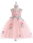 זול שמלות לילדות פרחים-נסיכה באורך  הברך שמלה לנערת הפרחים  - פוליאסטר / טול ללא שרוולים עם תכשיטים עם עלי כותרת / ריקמה / חגורה על ידי LAN TING Express