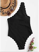 זול בגדי ים במידות גדולות-שחור S M L מתנפנפת פפיון קפלים גיאומטרי שבטי, בגדי ים חלק אחד (שלם) נועזת שחור בסיסי בגדי ריקוד נשים