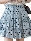 hesapli Tişört-Kadın's Actif Mini A Şekilli Etekler - Yuvarlak Noktalı Büzgülü Havuz Beyaz Siyah M L XL / İnce