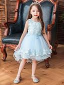 hesapli Elbiseler-Çocuklar Toddler Genç Kız Temel sevimli Stil Çiçekli Ağaçlar / Yapraklar Kırk Yama Nakış Kolsuz Asimetrik Elbise YAKUT
