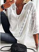 billige Skjorter til damer-T-skjorte Dame - Ensfarget, Blonde / Lace Trim Elegant Lyseblå
