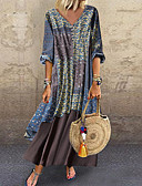 povoljno Maxi haljine-Žene Veći konfekcijski brojevi Pamuk Širok kroj Šifon Haljina - Print V izrez Maxi