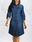 hesapli Mini Elbiseler-Kadın's Temel Kot Kumaşı Elbise - Solid, Delikli Diz-boyu Mavi & Beyaz