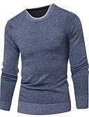 저렴한 남성 스웨터 & 가디건-남성용 솔리드 긴 소매 풀오버, 라운드 넥 가을 / 겨울 밝은 블루 / 루비 / 네이비 블루 US32 / UK32 / EU40 / US34 / UK34 / EU42 / US36 / UK36 / EU44