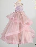 זול שמלות לילדות פרחים-נסיכה עד הריצפה שמלה לנערת הפרחים  - תחרה / טול ללא שרוולים עם תכשיטים עם חרוזים / אפליקציות על ידי LAN TING Express