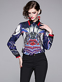 abordables Chemises Femme-Chemise Femme, Géométrique Imprimé Elégant Bleu Marine