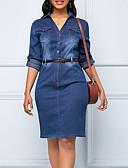 hesapli Kadın Elbiseleri-Kadın's Kılıf Elbise - Solid Diz-boyu