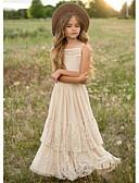 povoljno Haljine za djevojčice-Djeca Djevojčice Jednobojni Maxi Haljina Bež