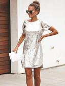 hesapli Mini Elbiseler-Kadın's Temel A Şekilli Elbise - Solid, Payetler Şalter Mini