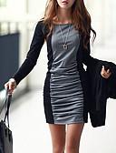 hesapli Mini Elbiseler-Kadın's Temel Bandaj Elbise - Zıt Renkli, Kırk Yama Mini Siyah gri