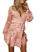 hesapli Print Dresses-Kadın's A Şekilli Elbise - Solid Diz üstü