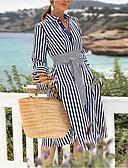 baratos Vestidos Longos-Mulheres Bainha Vestido Listrado Altura dos Joelhos
