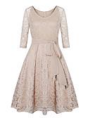 hesapli Kadın Kapşonluları-Kadın's Zarif Çan Elbise - Solid Geometrik, Dantel Örümcek Ağı Bağcık Midi