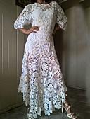 hesapli Büyük Beden Elbiseleri-Kadın's Zarif A Şekilli Elbise - Geometrik, Dantel Maksi
