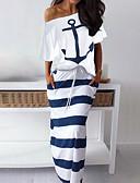 hesapli Gelin Annesi Elbiseleri-Kadın's Günlük Elbise - Çizgili, Desen Düşük Omuz / Yaz