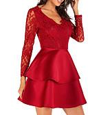 billige Romantiske blonder-Dame Sofistikert Elegant Skjede Kjole - Ensfarget, Lapper Mini