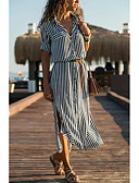 hesapli Kadın Elbiseleri-Kadın's Gömlek Elbise - Çizgili Midi