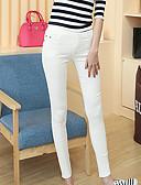 hesapli Tişört-Kadın's Pamuklu Podstawowy Legging - Solid, Dantelli Orta Bel Beyaz Siyah XL XXL XXXL