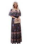 hesapli Print Dresses-Kadın's Temel Boho Çan Elbise - Çiçekli Gökküşağı Kabile, Arkasız Fırfırlı Desen Maksi Mavi Kırmızı