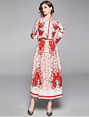 abordables Chemises Femme-Femme Elégant Maxi Trapèze Robe - Mosaïque Imprimé, Rayé Fleur Rose Claire M L XL Manches Longues
