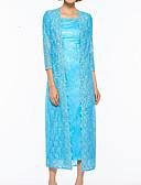 hesapli Gelin Annesi Elbiseleri-Sütun Kare Yaka Diz Altı Dantelalar / Saten Aplik ile Gelin Annesi Elbisesi tarafından LAN TING Express