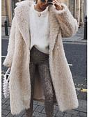 povoljno Bluza-Žene Dnevno Jesen zima Dug Faux Fur Coat, Jednobojni Rolled collar Dugih rukava Umjetno krzno Obala / Blushing Pink / Bijela / Slim