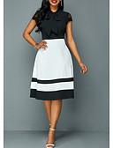 hesapli Romantik Dantel-Kadın's Kılıf Elbise - Zıt Renkli Diz-boyu