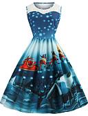 hesapli Print Dresses-Kadın's Vintage A Şekilli Elbise - Hayvan, Örümcek Ağı Kırk Yama Desen Diz-boyu Noel Baba