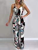 hesapli Maksi Elbiseler-Kadın's Temel Siyah Tulumlar, Geometrik Desen S M L