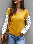 billige T-skjorter til damer-Dame Ensfarget Langermet Pullover, V-hals Vår / Høst Oransje / Gul / Grønn S / M / L