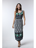 hesapli Print Dresses-Kadın's Boho A Şekilli Elbise - Geometrik Midi