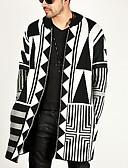 お買い得  メンズセーター&カーデガン-男性用 幾何学模様 長袖 カーディガン, ラウンドネック ブラック US32 / UK32 / EU40 / US34 / UK34 / EU42 / US36 / UK36 / EU44