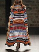 זול שמלות מודפסות-בגדי ריקוד נשים יומי ארוך מעיל פרווה, קולור בלוק עם קפוצ'ון שרוול ארוך פוליאסטר חאקי / רזה