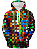 cheap Men's Hoodies & Sweatshirts-Men's Casual Hoodie-Color Block Rainbow