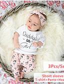 זול סטים של ביגוד לתינוקות-סט של בגדים שרוולים קצרים אחיד / דפוס בנות תִינוֹק