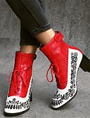 povoljno Nježna čipka-Žene Čizme Blok pete Okrugli Toe PU Čizme gležnjače / do gležnja Vintage / Kinezerije Jesen zima Crn / Crvena / Plava