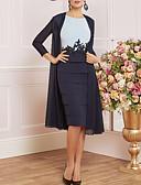 hesapli Gelin Annesi Elbiseleri-Sütun Taşlı Yaka Diz Boyu Şifon / Jarse Aplik / Dalgalı ile Gelin Annesi Elbisesi tarafından LAN TING Express